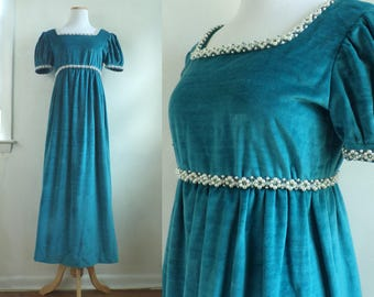 50s  velour gown teal blue beaded faux pearl & crystal trim handmade empire waist evening dress 1950s party dress womens small