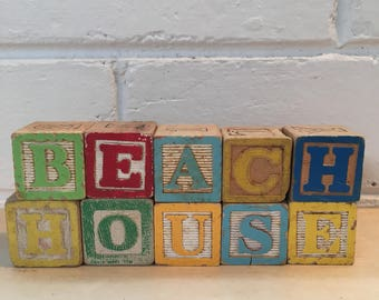 """Vintage Blocks Spelling """"BEACH HOUSE"""""""