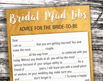 Bridal Mad Libs Wedding, Gold Foil Wedding Mad Libs, Bachelorette Hen Party Games, Bridal Shower Mad Libs, Bachelorette Mad Libs, Mad Libs