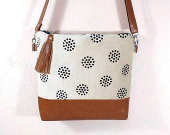 Large and Smaller canvas JUTE bag, canvas painted crossbody bag, hobo white shoulder bag, cotton and leather bag, crossbody purse,Toffee bag