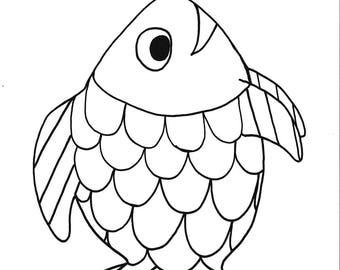 Rainbow fish printable coloring page,fish,printable,kids,coloring,INSTANT download, black,white,art,handmade,hand drawn, cartoon
