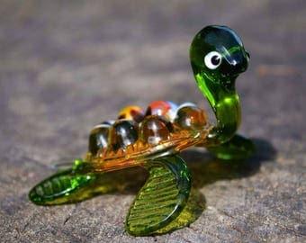 Green glass turtle figurine animals glass turtles sculpture art glass toy murano turtle blown green animals tiny big turtle animals figures