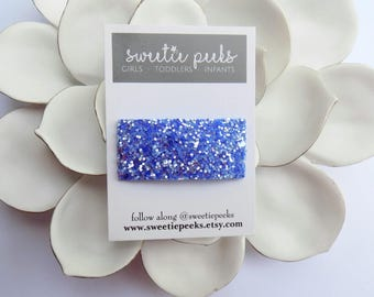 Sapphire Glitter Snap Clip | Blue Glitter Snap Clip | Summer Hair Clip | Girls Hair Accessory |