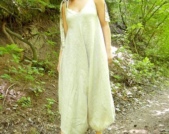Linen Beige Summer Jumpsuit, Lagenlook Loose Extravagant Romper, Strap Oversized Jumpsuit, XXXL Romper