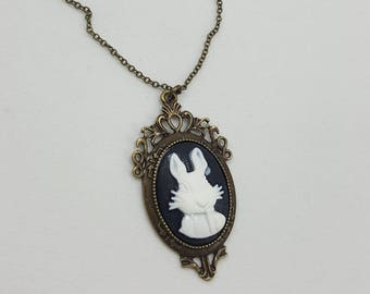 Alice in Wonderland White Rabbit, Cameo Necklace, Alice in Wonderland Jewelry