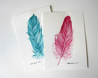 Watercolor Faethers  Set of 2 Painting Feather  5 x 7  Original watercolor paintings  Feather Watercolor Cards