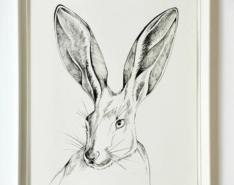 Rabbit Painting ORIGINAL Ink painting  Rabbit Artwork  11 X 14 Nursery Decor Wall Art Black and White