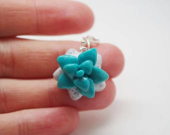 Polymer clay, bright blue, succulent, star charm, fashion accessory