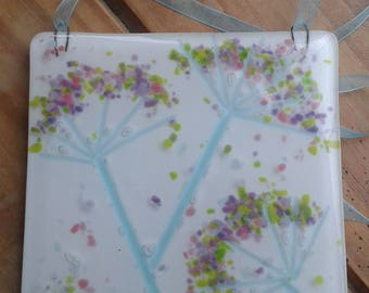 Cow parsley wall hanging. Fused glass. Pretty. Hang on wall or in window. Summers day.