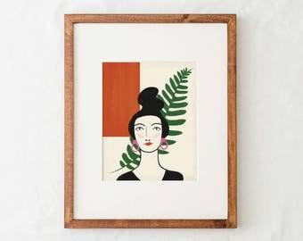 Portrait Art Print - Red
