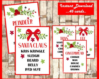 Christmas Taboo - Printable Christmas Game Cards for Taboo - Group Game - Family Game - All Ages - INSTANT DOWNLOAD