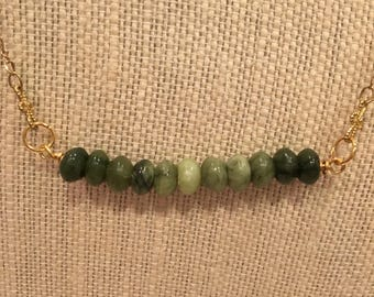 Jade rondelle bar necklace.  Matching earrings available.