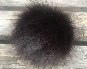 Brown Bear Faux Fur Pom Pom
