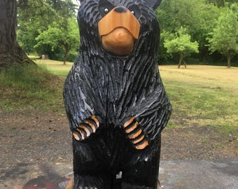 """Standing Black Bear - 25"""" - Wood Chainsaw Carving"""