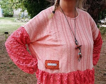 Loose-fitting pullover coral designer lace, women summer sweater