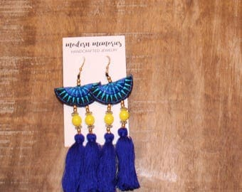 Royal Blue and Yellow Tassel Earrings | Colorful Boho Earrings, Tassel Dangle Earrings, Tribal Earrings