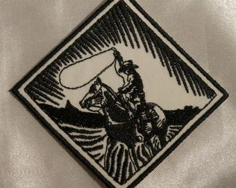 Embroidered Retro Black and White Western Cowboy w/Horse & Lasso Patch Iron On Sew On USA