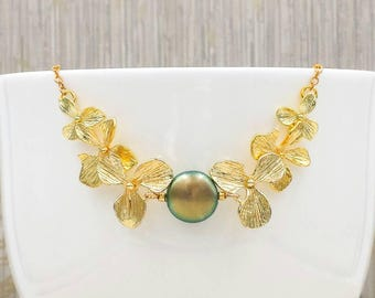 Orchid Pearl Necklace, Iridescent Green Swarovski Coin Pearl Orchid Flower Necklace, Wedding Bridal Bridesmaid Gift for Her