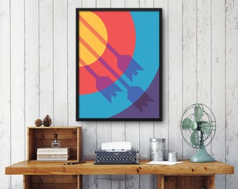 Archery Target Arrow Shadow Poster Art Print Wall Art