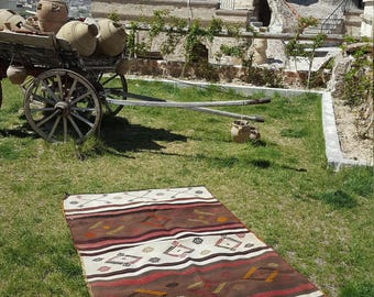 Anatolian Handmade Kilim 100% Wool 50'' x 83'' Handwoven Decorative Kilim Rug