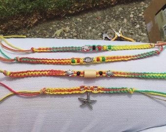 Tie dye hemp cord bracelet / ankle bracelet