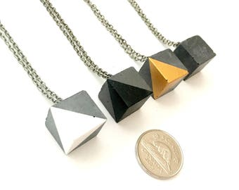 Geometric Concrete Cube Pendant Necklace