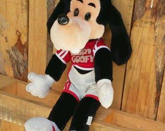 "Vintage Goofy plush Sport Goofy, 1980s Walt Disney Productions, California USA, 18"" Disney Goofy stuffed animal,Disney collectible"