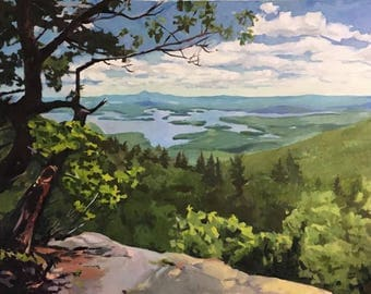 """View of Squam Lake from Rattlesnake, 40""""x30"""" original oil painting"""