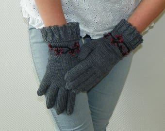 Knit fingered gloves Gray fingered gloves Knitted gloves Wool gloves Warm fingered gloves Knitted gloves Warmers Women's gloves Gift for her