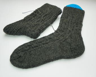 Wool socks Men socks Hand knitted socks Wool Knit socks Leg Warmers Winter socks Warm socks Woolen socks socks Gift Grey color Handmade