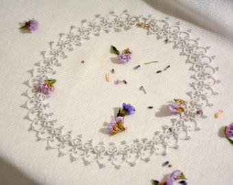 Tatted lace necklace Jewelry for bride Wedding jewelry Bridal jewelry Wedding necklace White necklace Handmade lace Romantic necklace