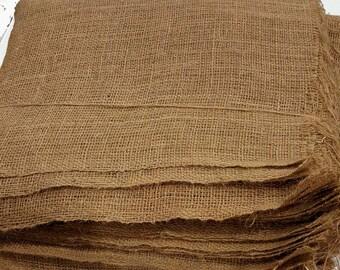 Burlap Square,7oz Fabric, food grade, two locked and two raw edge, burlap sack  making cloth, burlap wedding material. Burlap table topper.