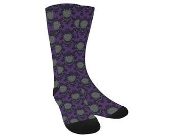 Labyrinth Socks - Knee High Socks Purple Door Knocker Damask Socks Door Knocker Socks Comicon Socks Geeky Socks Trouser Socks