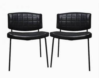 Pair Of Vintage Conseil Chairs In Black Leatherette And Metal, Pierre Guariche 1950's, France - Pair of mid-century chairs - Meurop chairs
