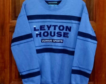 Rare!! LEYTON HOUSE versus sports Sweatshirt spellout embroidery nice design blue colour large size