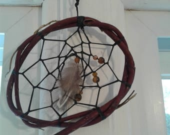 """Authentic 4"""" inch handmade twisted red willow dream catcher (perfect for holiday gifts) w/ tiger eye gemstone beads"""