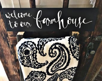 LG Welcome to our Farmhouse | Handmade Wood Calligraphy Sign