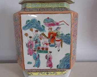 Hexagonal chinese vase with lid