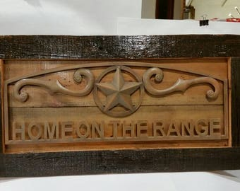 Home on the Range Rustic Reclaimed wood Frame with metal sign