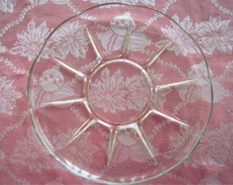 "Vintage Pressed Glass Hors d'oeuvre Plate, 12.5"" Diameter"