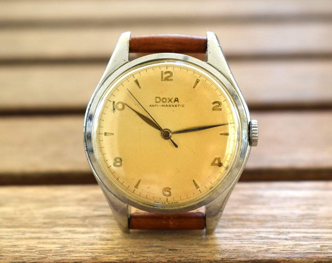 Vintage 1950's Doxa Watch, Swiss Made Men's Watch, Vintage Mechanical Watch, Retro Watch, Manual Winding Watch, Anniversary Gift, Works Fine