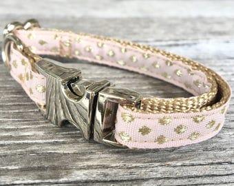 Blush Pink and Gold Pebbles Teacup Dog Collar, Pink Teacup Dog Collar, Girl Dog Collar, Tiny Dog Collar, Pink and Gold Dog Collar