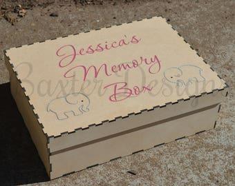 Wooden Children Kid Memory Keepsake Box Raw Painted Laser Cut