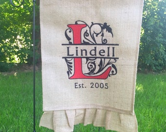 Personalized Garden Flag - Embroidered Burlap Ruffle Flag - Last Name and Elegant Scroll Initial - Established Year - Wedding Gift - House