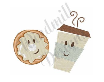 Coffee And Donut - Machine Embroidery Design