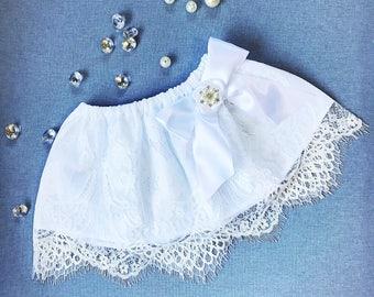 Baby eyelash lace skirt, baptism skirt, infant lace skirt, christening baby skirt, christening outfit, baby white lace skirt, blessing gown