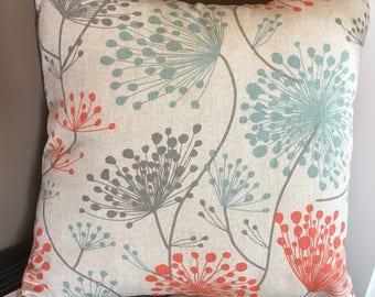 Premier Prints Byram Laken Irish Daisy - Coral, Light Blue, Gray, Tan, White, Teal, Orange Pillow Cover