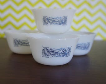 4 Vintage Currier and Ives Glasbake Custard- Ramekin Cups