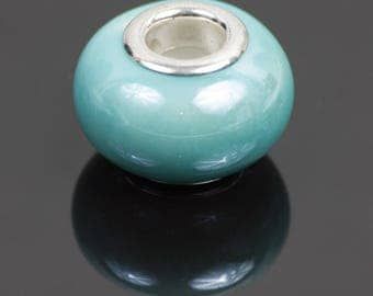 10 turquoise ceramic - 28101 European style beads