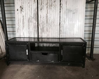 Industrial steel TV cabinet